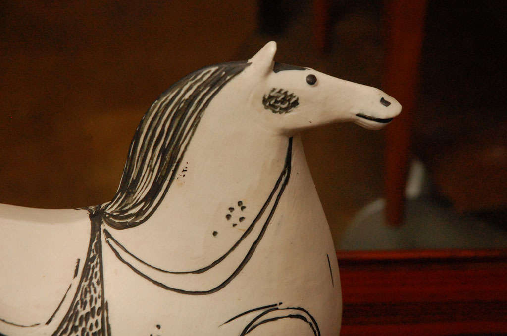 Mid-20th Century Stig Lindberg ceramic horse sculpture for Gustavsberg signed For Sale