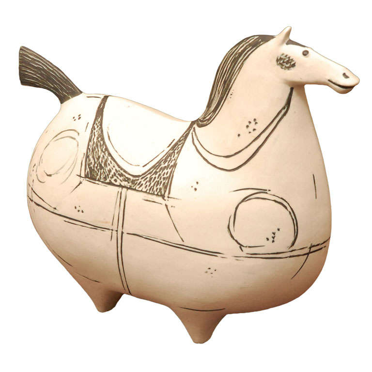 Stig Lindberg ceramic horse sculpture for Gustavsberg signed For Sale