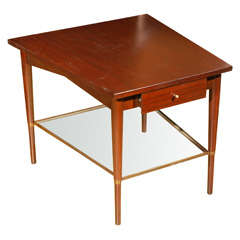 Paul McCobb Connoisseur trapezoid side glass brass tiers table