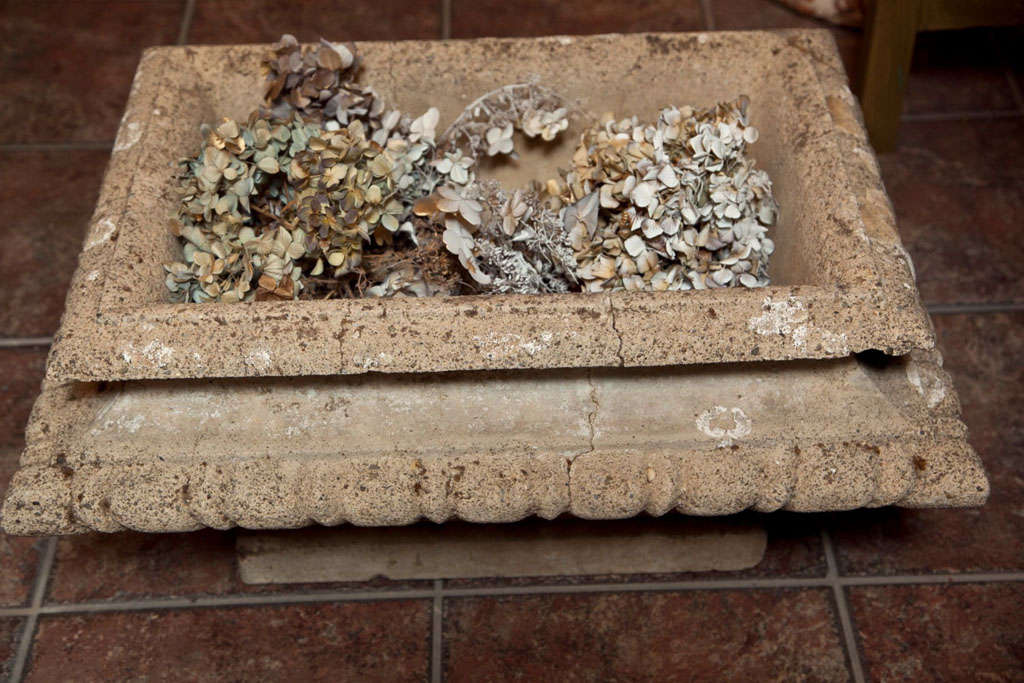 Cast Stone Rectangular Jardiniere For Sale 1