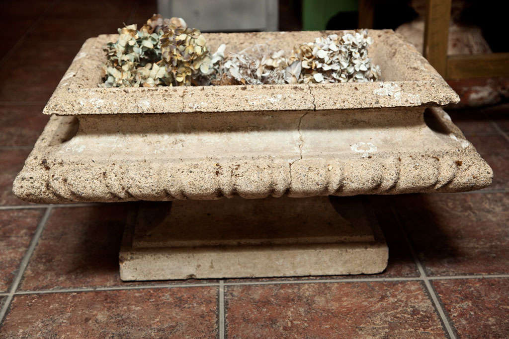 Cast stone rectangular jardiniere