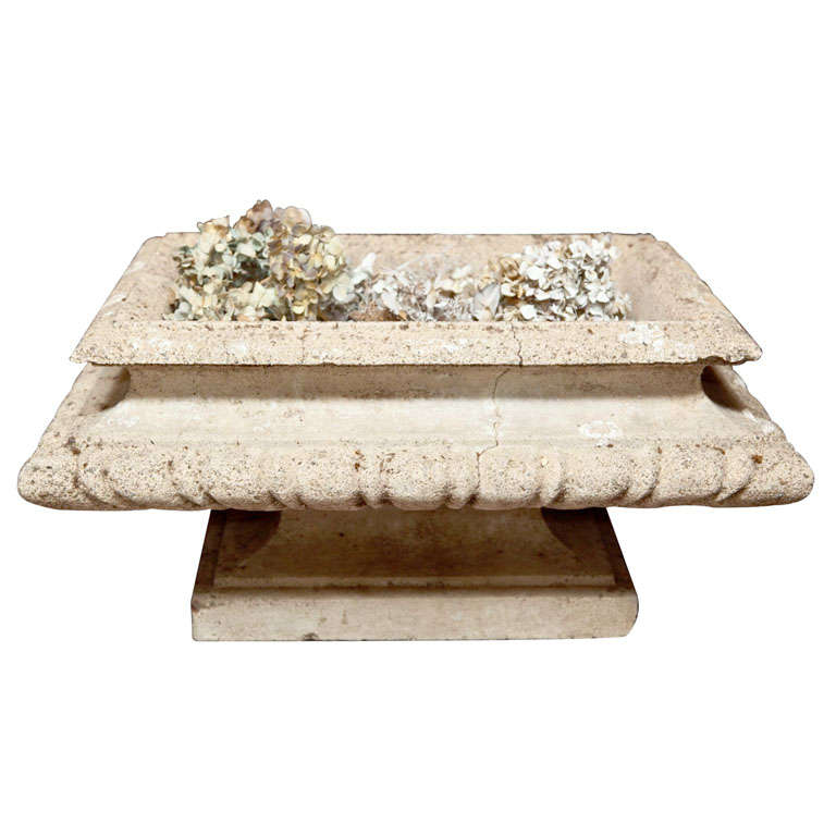 Cast Stone Rectangular Jardiniere For Sale