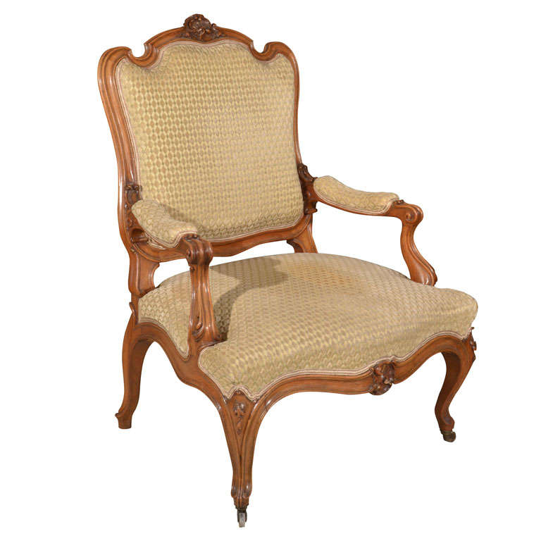 Provincial Louis XV Style Fruitwood Fauteuil