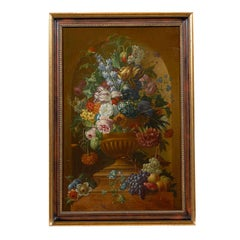 Swedish 1780s Floral Painting in the Manner of Paulus Theodorus van Brussel