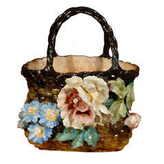 French Barbotine Decorative Basket with Floral Decor and Handles, 19th Century