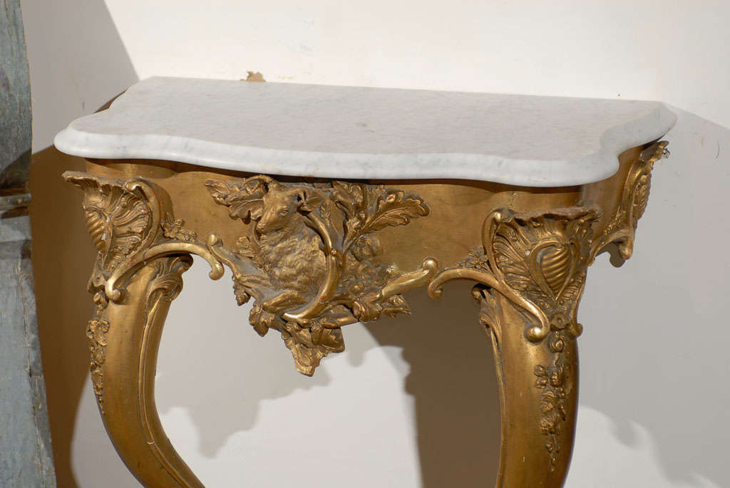 Carved French Rococo Revival 1850s Console Table with Carrara Marble Top and Gilt Base For Sale