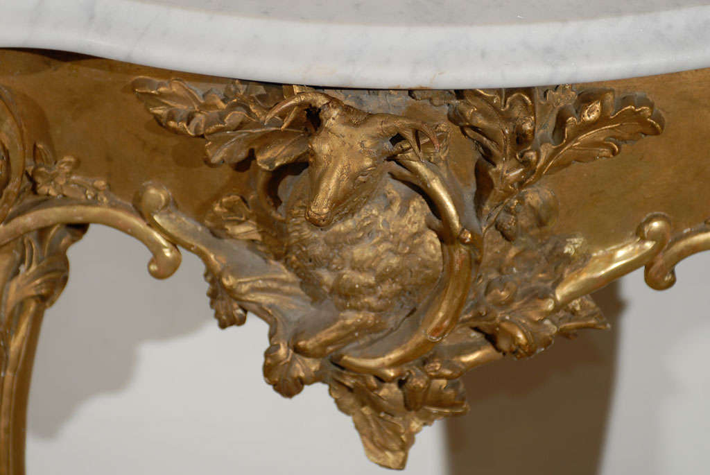19th Century French Rococo Revival 1850s Console Table with Carrara Marble Top and Gilt Base For Sale