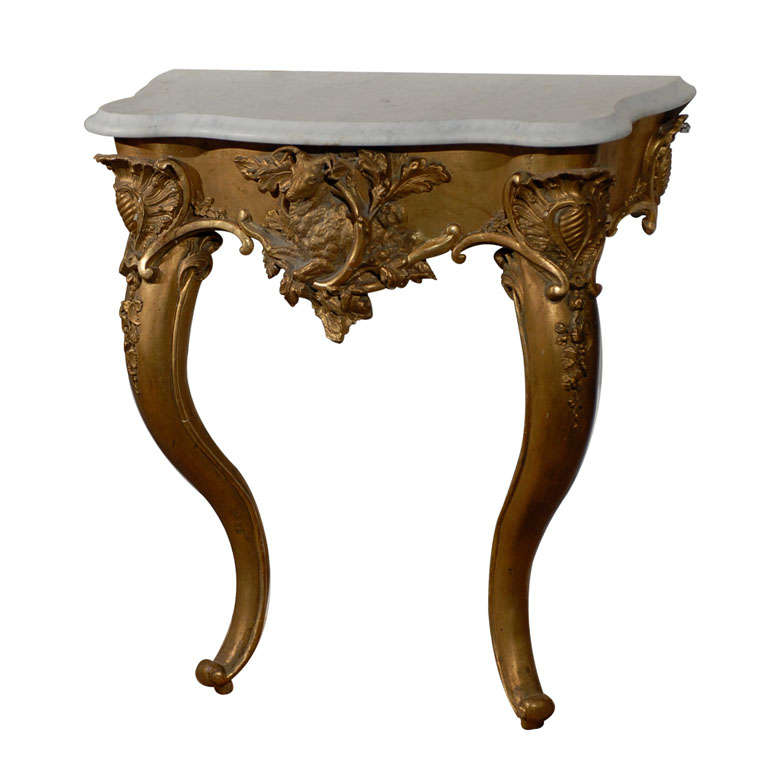 French Rococo Revival 1850s Console Table with Carrara Marble Top and Gilt Base