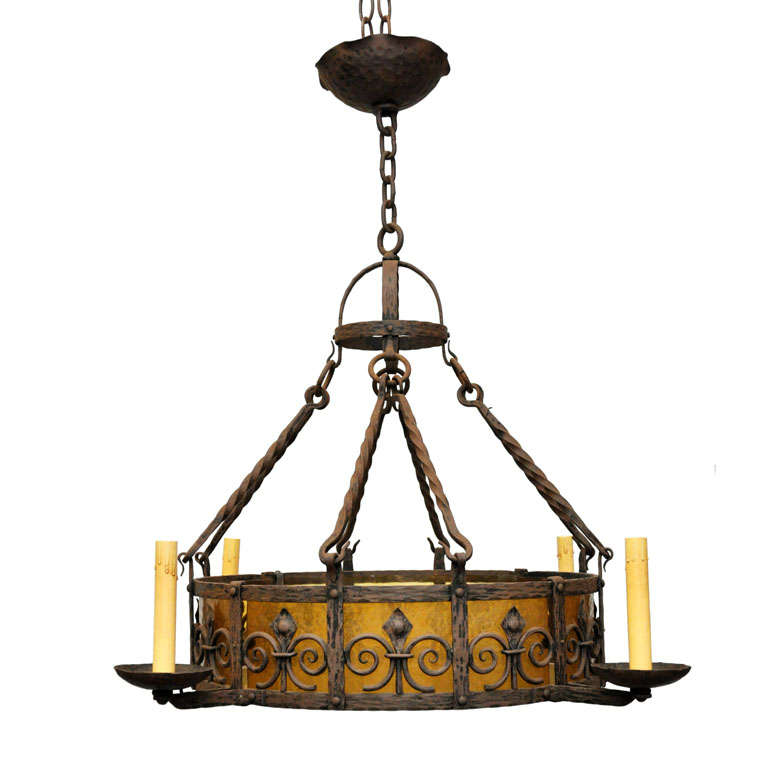 Glass Ring Chandelier: Iron Ring Chandelier With Curved Amber Glass Panels At 1stdibs