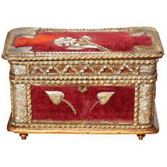 velvet trimmed tramp art box