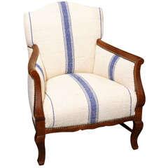 child's armchair in striped heavy linen