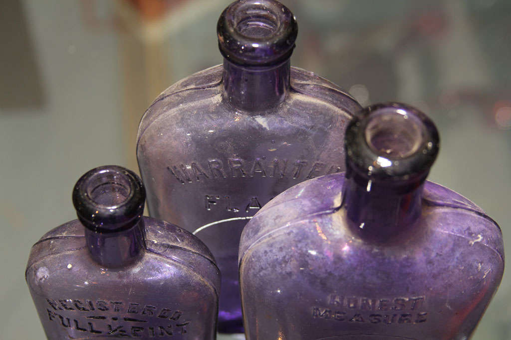 set of 3 purple bottles 9
