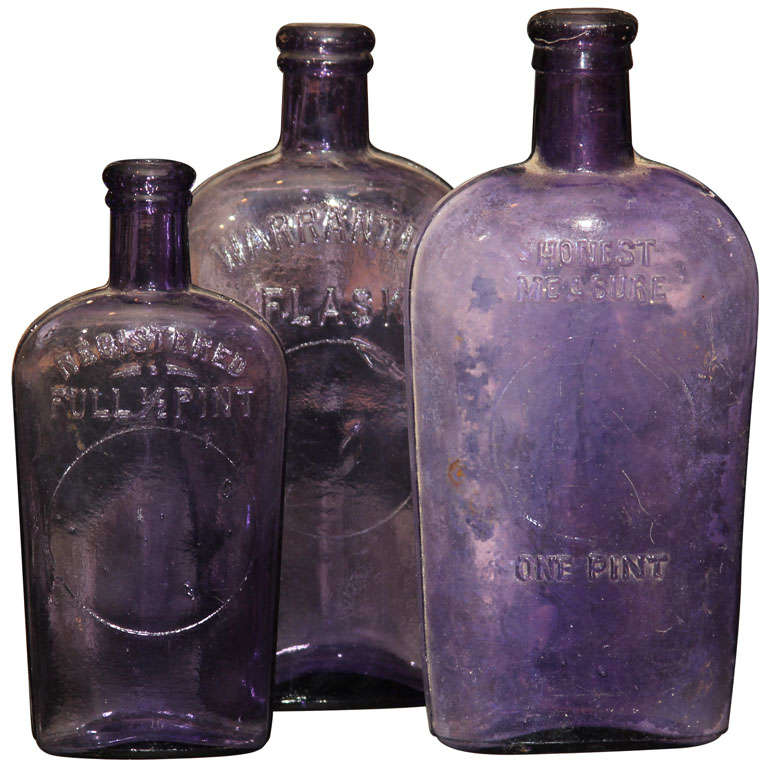 set of 3 purple bottles