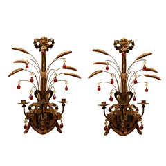 Pair of Carved and Gilded-wood Candle Sconces