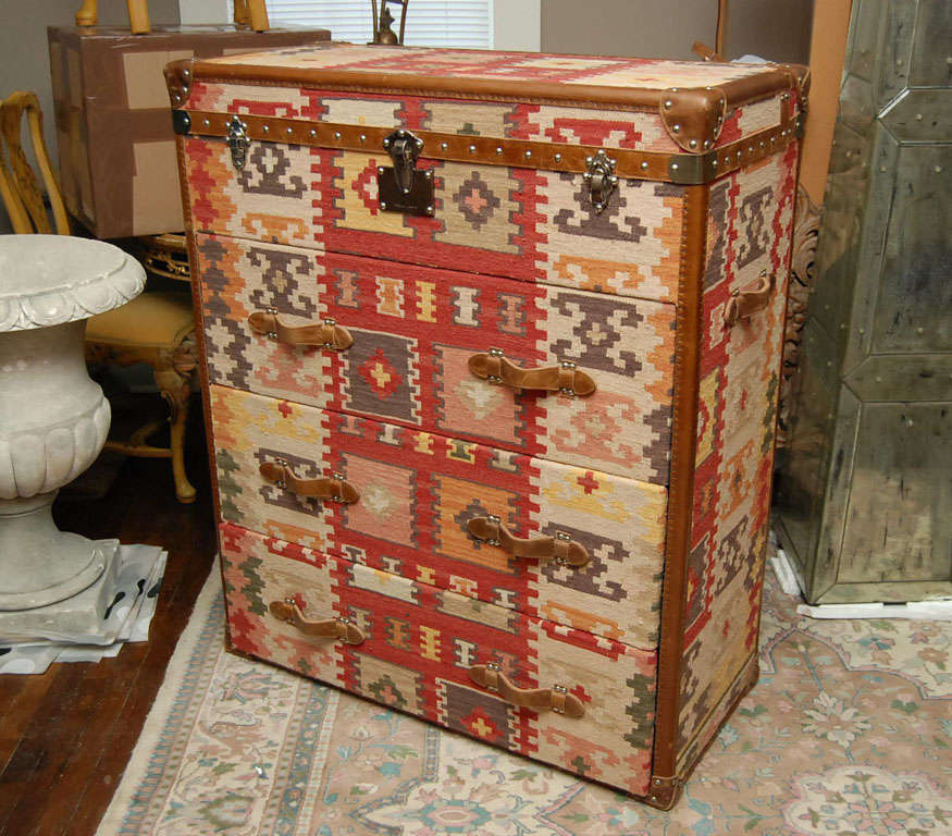 ec21d7c97 English Vintage Kilim Covered Campaign- style Chest of Drawers For Sale