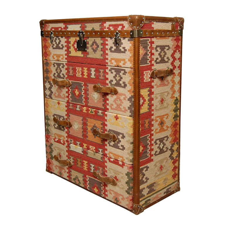 64ae56f76 Vintage Kilim Covered Campaign- style Chest of Drawers at 1stdibs