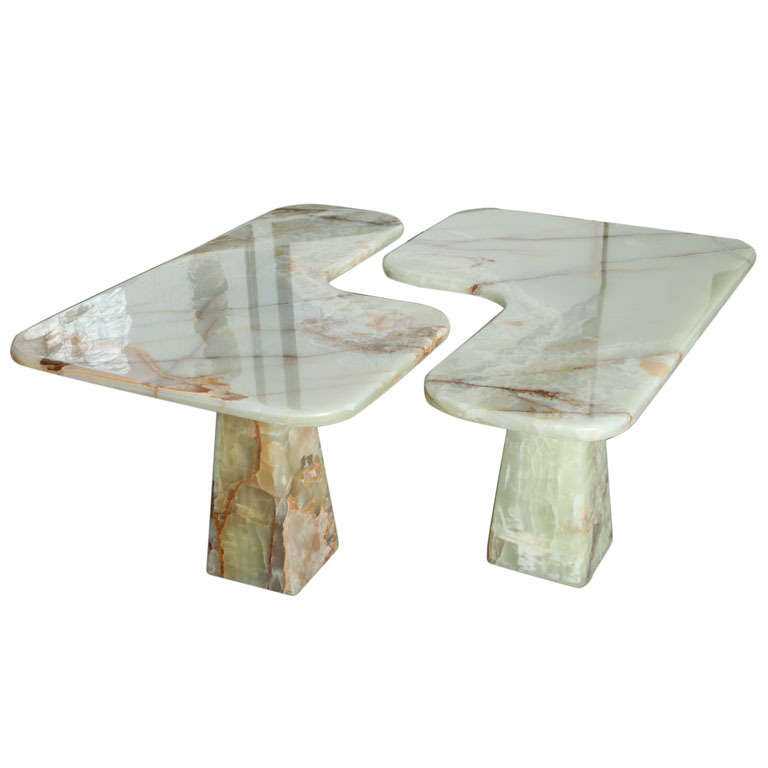 Italian Modern Onyx Center Table/Pair of Corner Consoles, attributed to Borsani For Sale