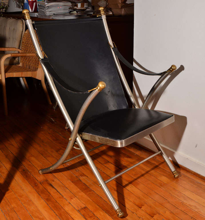 Maison Jansen Campaign Chair, <br /> in Satin Metal and Brass with Leather Strapping