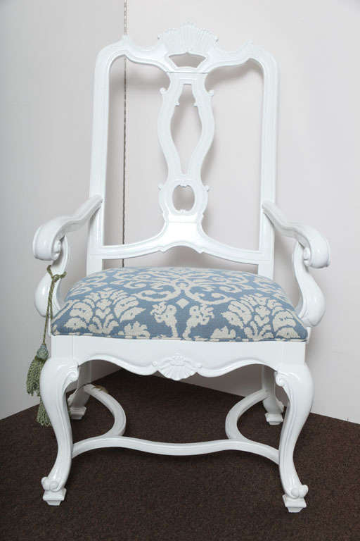 Hollywood Glam White Lacquered Armchair For Sale At 1stdibs