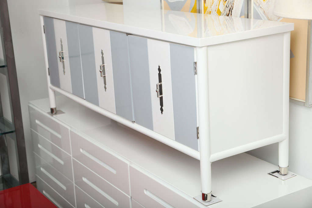 Very Lovely Low Dresser Cabinet White And Gray Lacquered