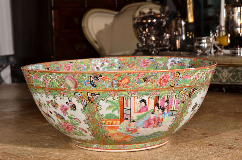 Chinese Large Rose Medallion Punch Bowl For Sale