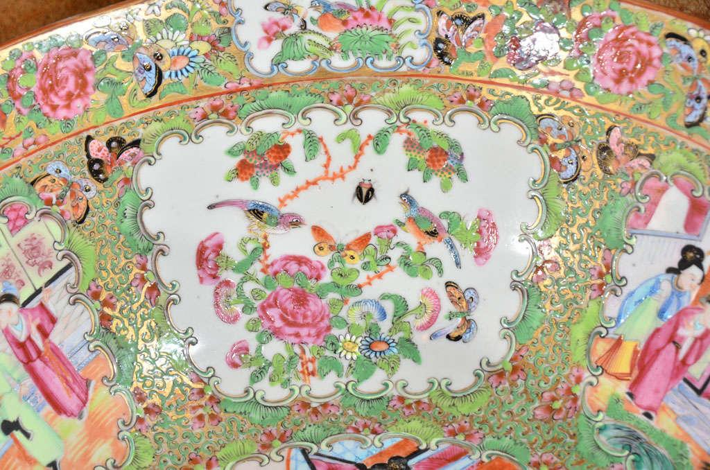 Large Rose Medallion Punch Bowl For Sale 1