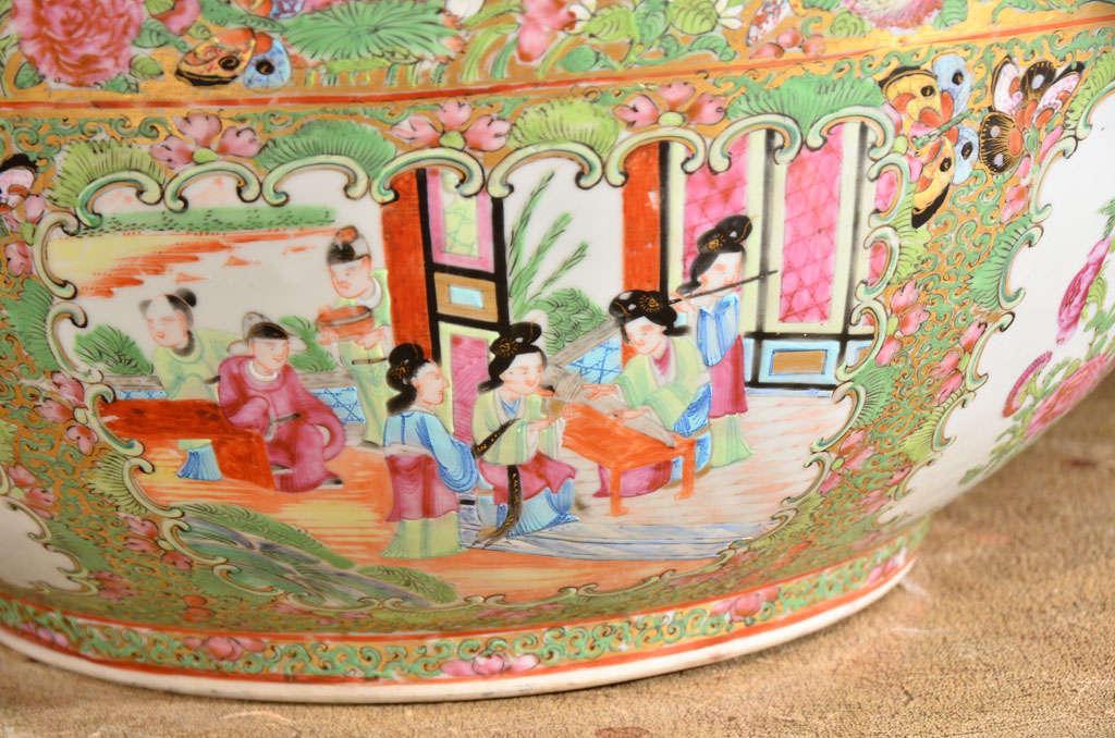 Large Rose Medallion Punch Bowl For Sale 3