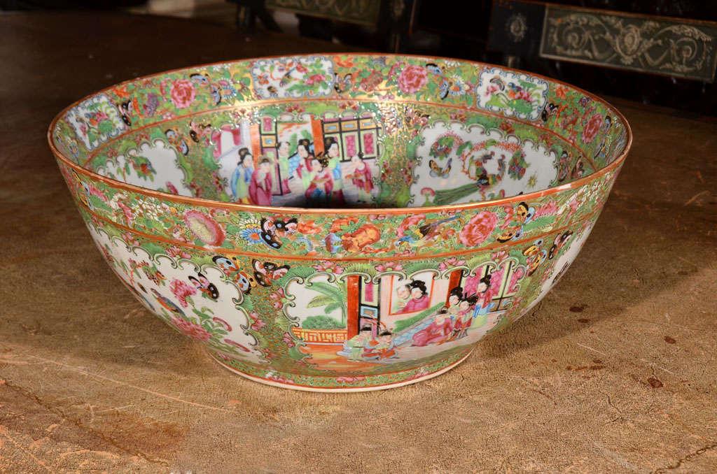 a large Rose Medallion punch bowl