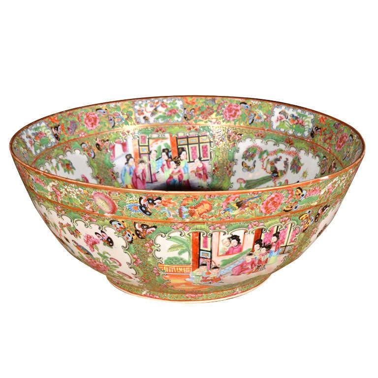 Large Rose Medallion Punch Bowl For Sale