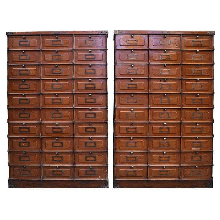 Pair Of Faux Painted Metal Multi Drawer Cabinets For Sale