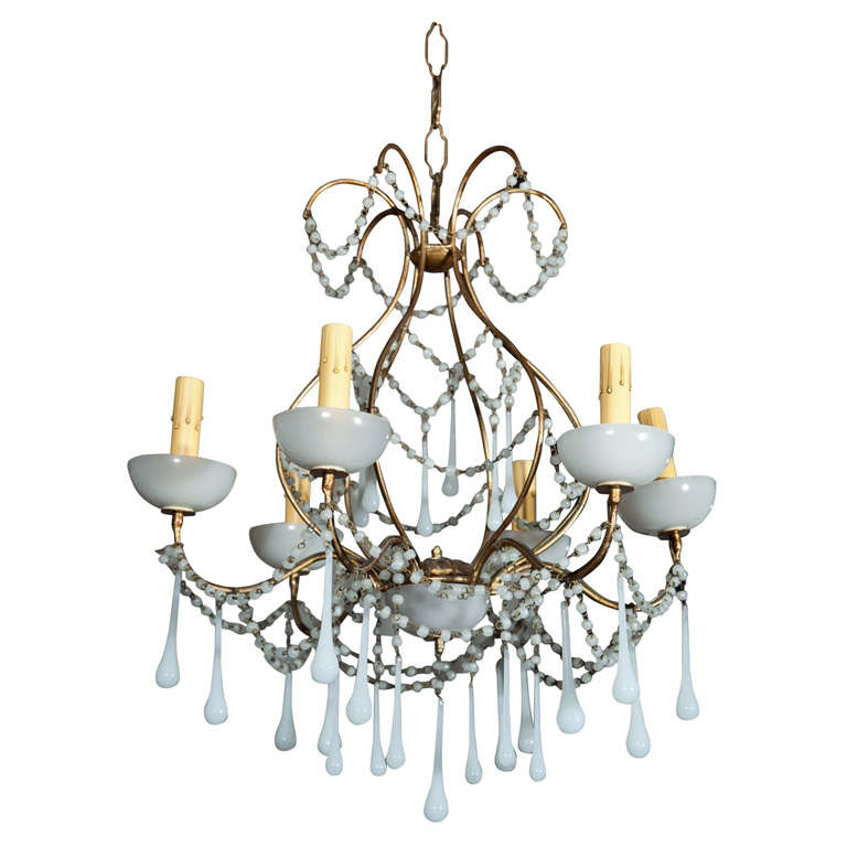 1930 s French Milk Glass Chandelier at 1stdibs