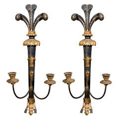 Pair of Italian Gilt Wood and Painted Candle Sconces