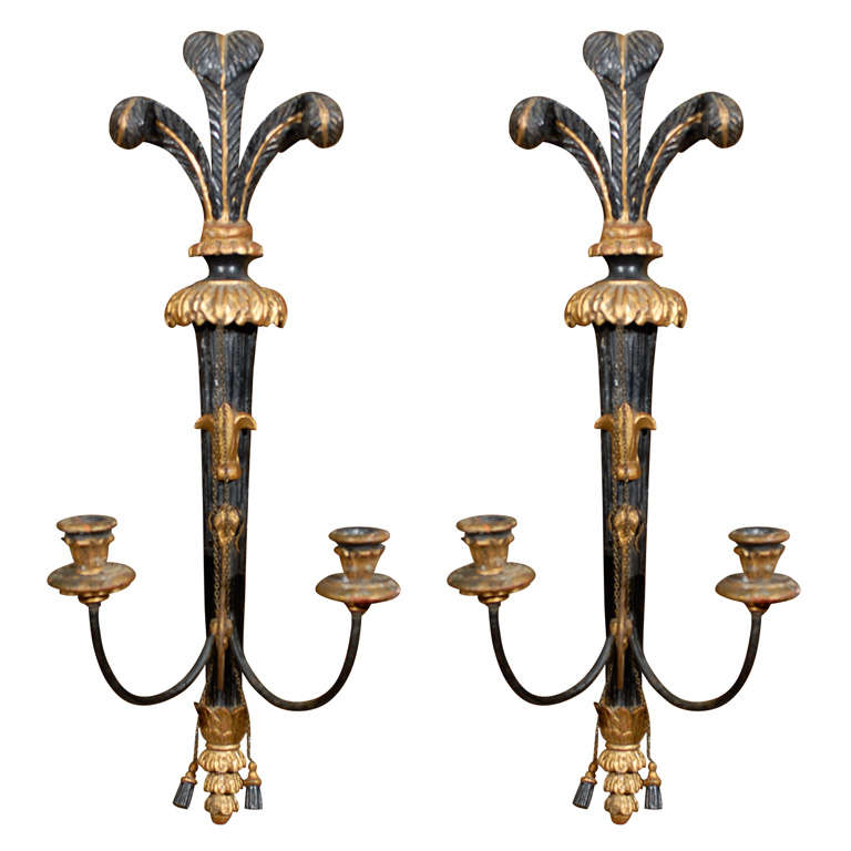 Italian Candle Wall Sconces : Pair of Italian Gilt Wood and Painted Candle Sconces at 1stdibs