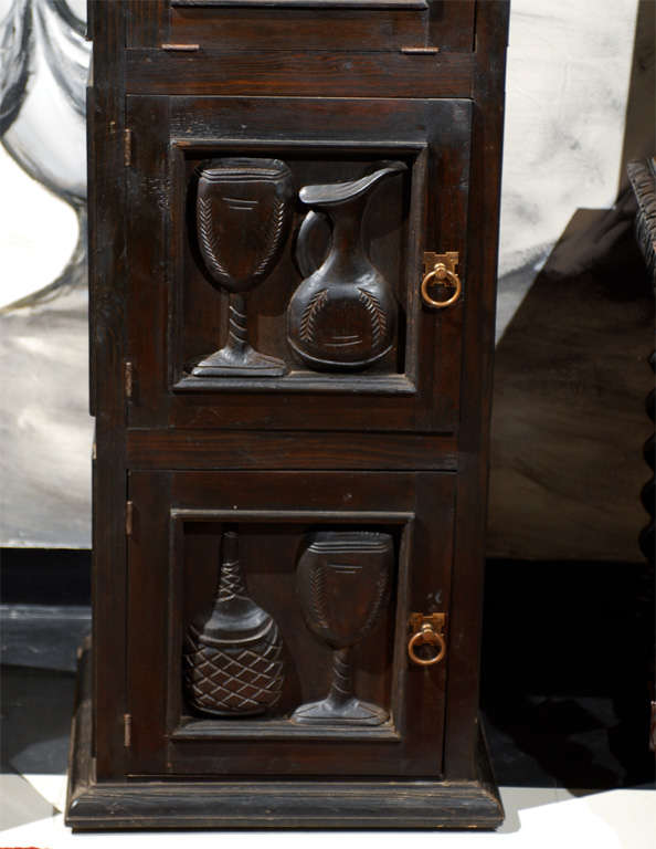 Carved italian wine tasting cabinet at 1stdibs for Carved kitchen cabinets