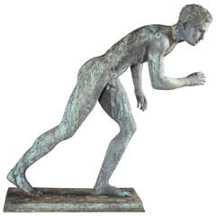 After the Antique, Grand Tour Patinated Bronze Statue of Young Nude Figure by Giovanni Varlese
