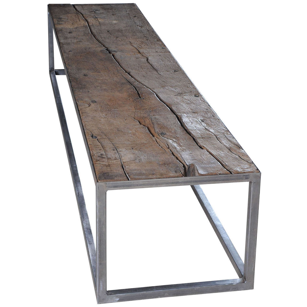 A Coffee Table Made of a 14th Century Dutch Oak Floorboard with  Wrought-Iron Frame