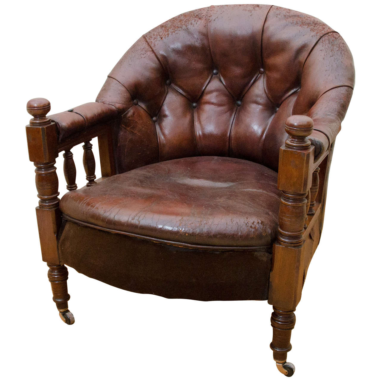 English Victorian Tufted Leather Barrel Back Open Armchair