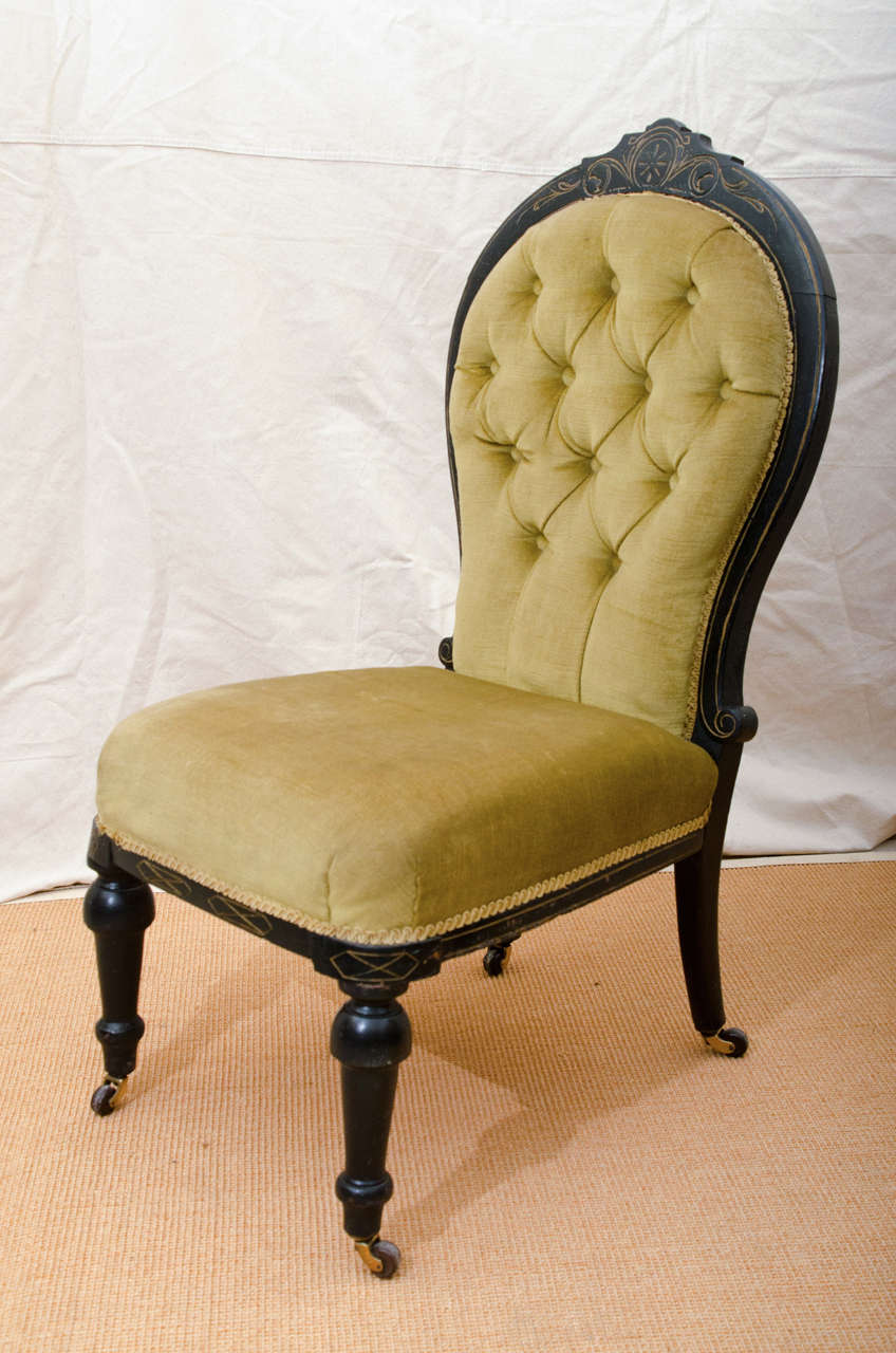 English Victorian Ebonized Tufted Back Slipper Chair With Incised Gilt  Decoration, The Incising Is Eastlake
