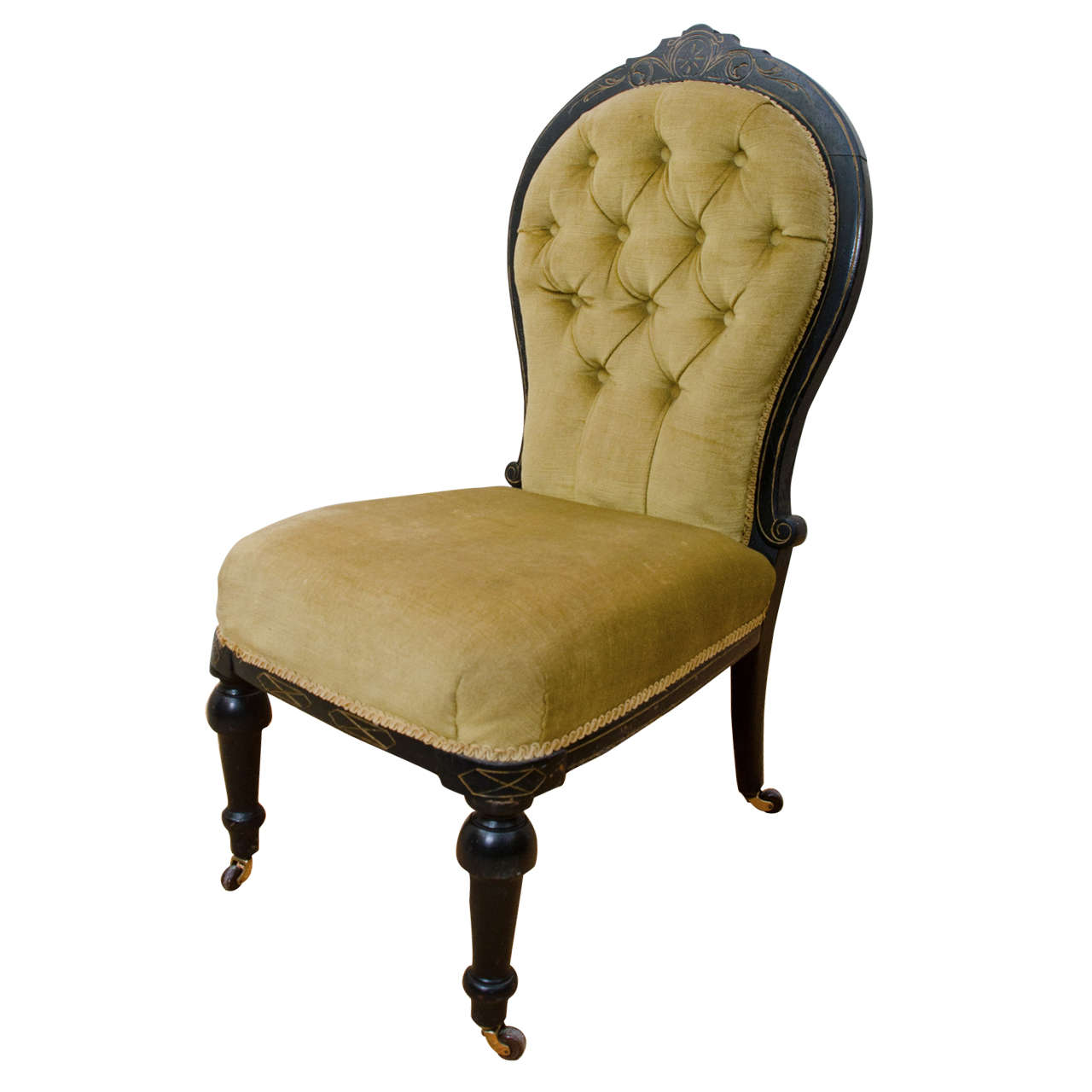 English Victorian Ebonized Tufted Back Slipper Chair