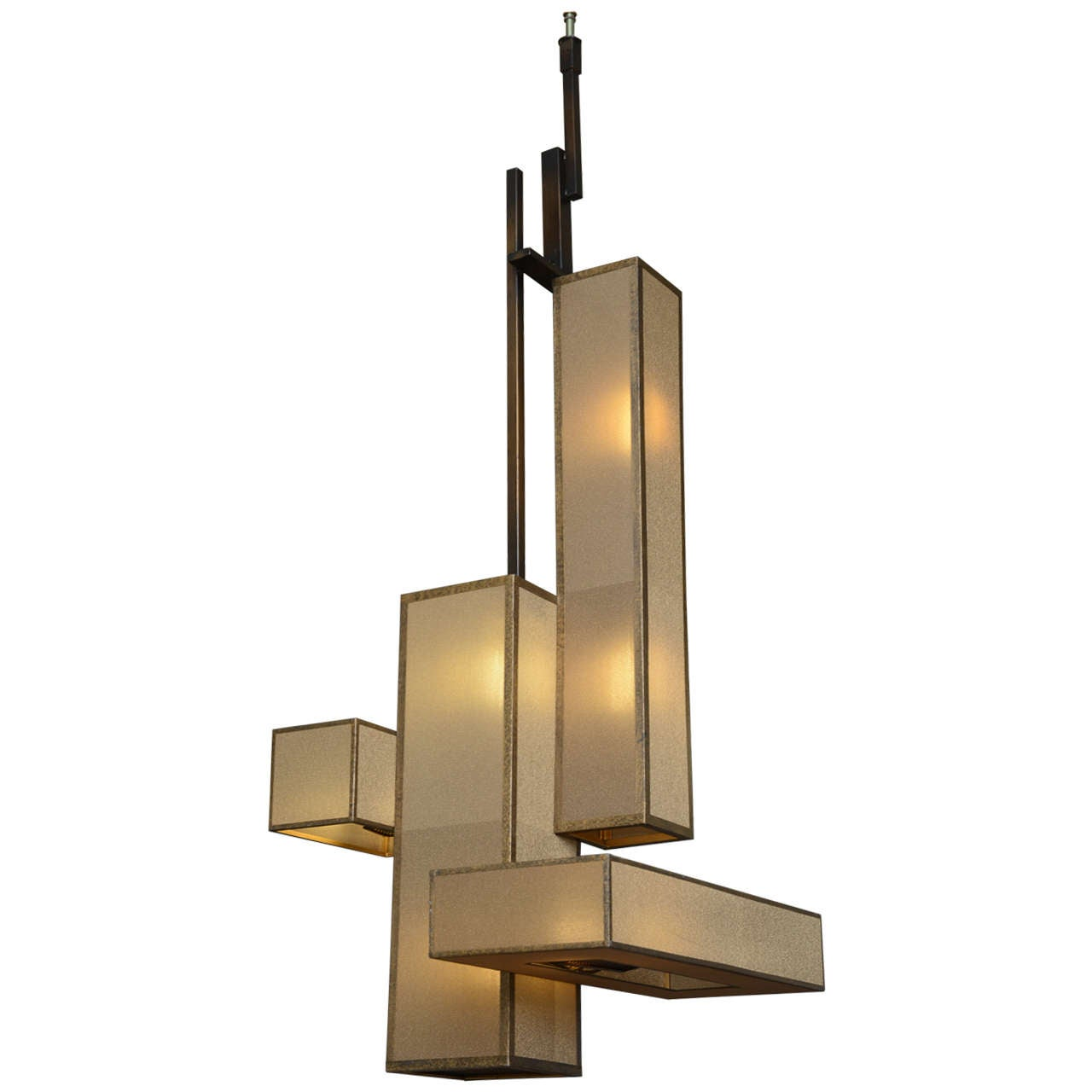 Large Italian Modern Patinated Brass And Glass Chandelier