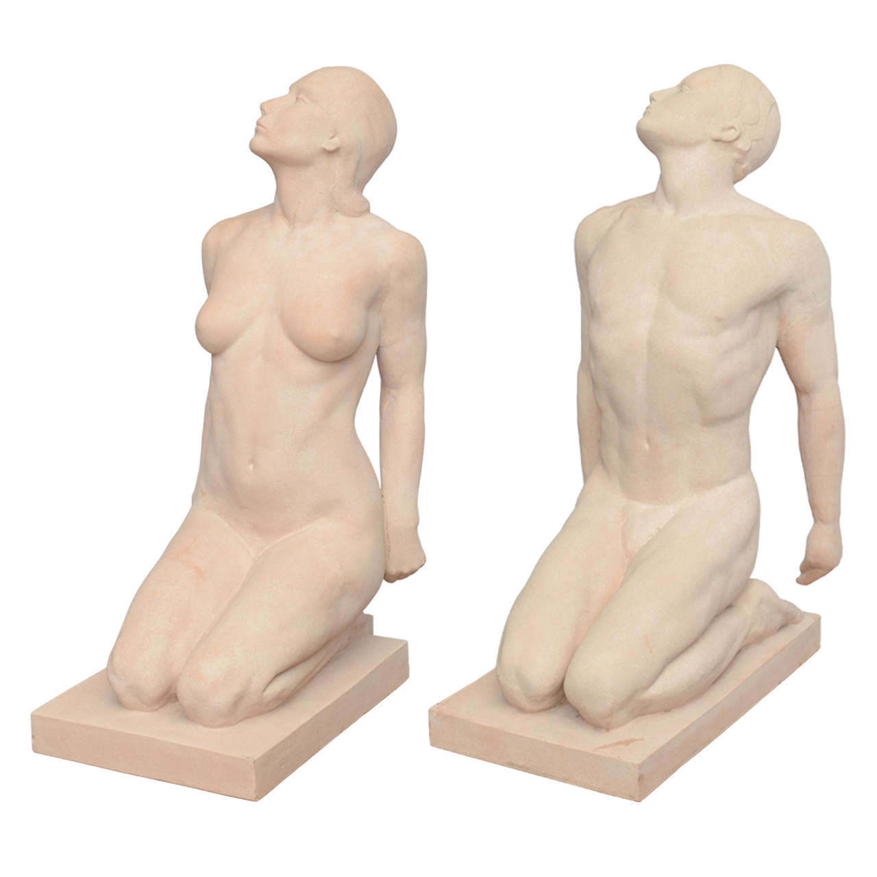 Matched Pair of Art Deco Terracotta Sculpture or Statues by Demetre Chiparus