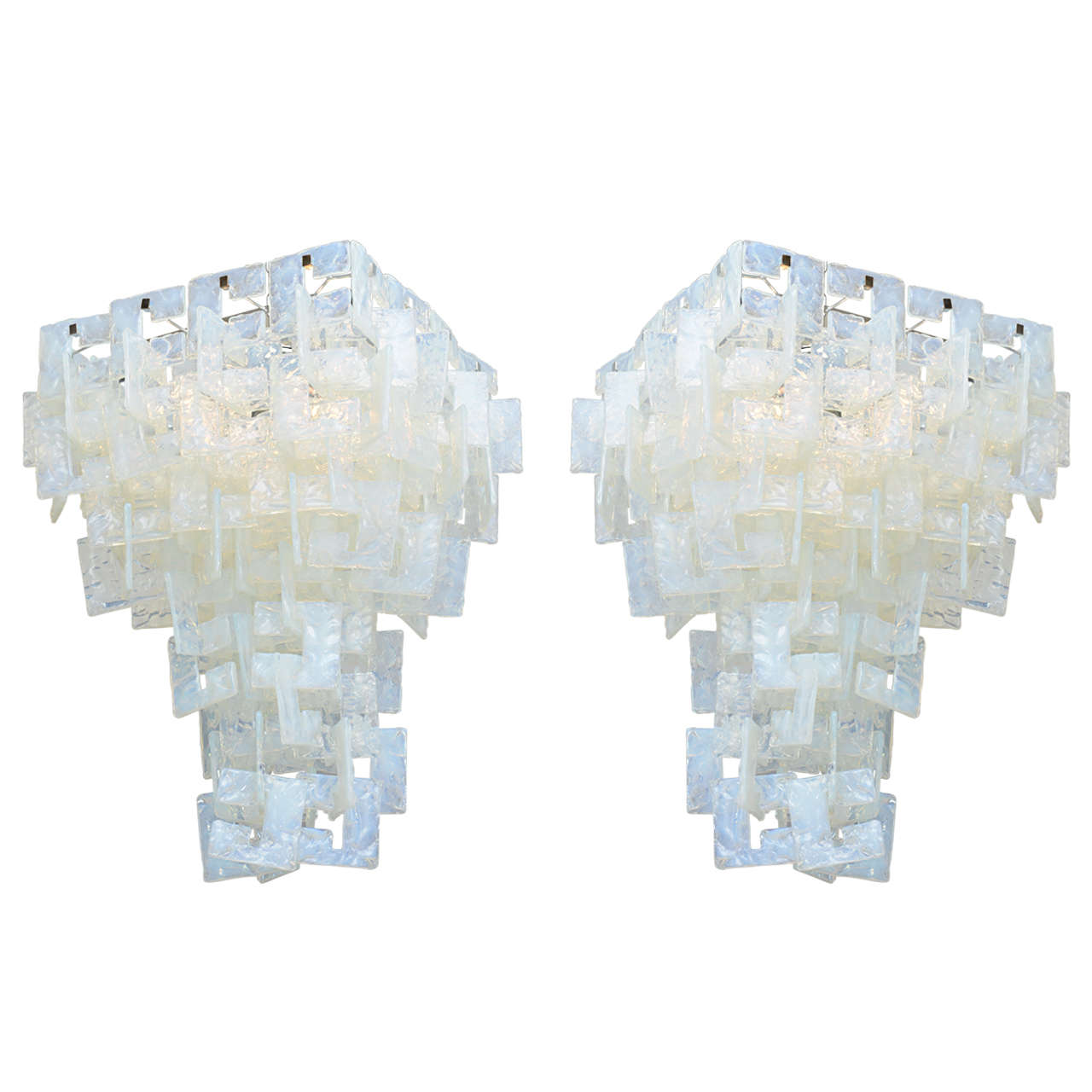 Pair of Italian Modern Opalescent Glass Chandeliers Mazzega For – Italian Glass Chandeliers