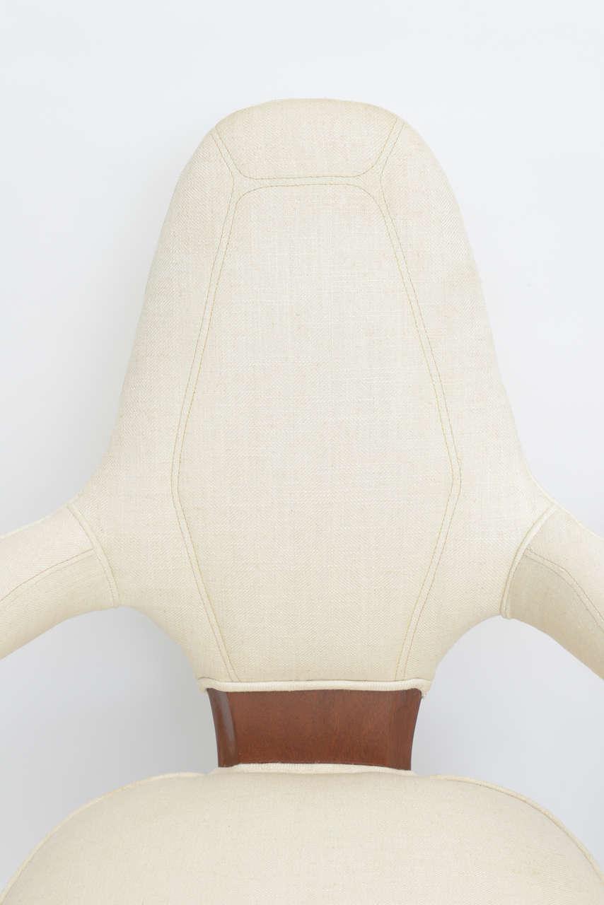 Set of Four Italian Modern Mahogany Armchairs, Silvio Cavatorta In Excellent Condition For Sale In Miami, FL