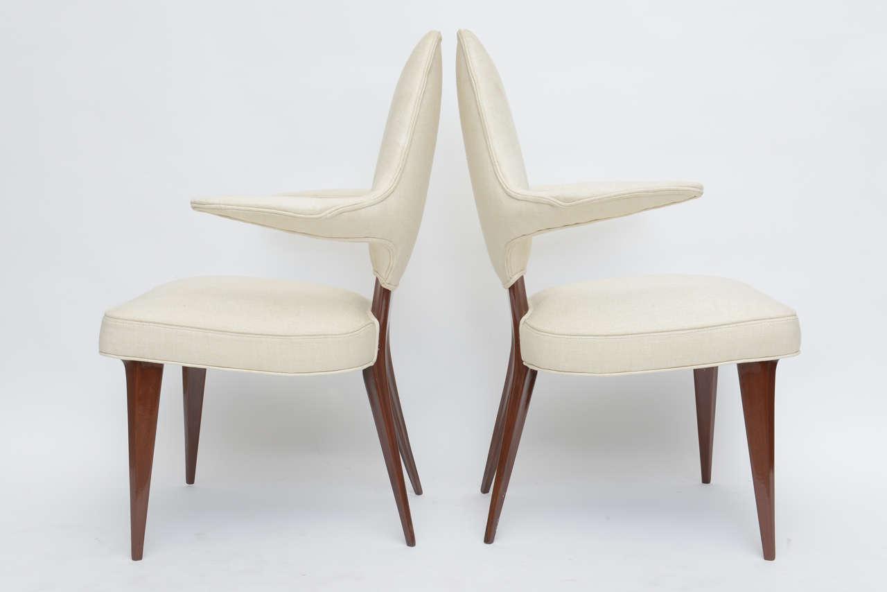 Set of Four Italian Modern Mahogany Armchairs, Silvio Cavatorta For Sale 1