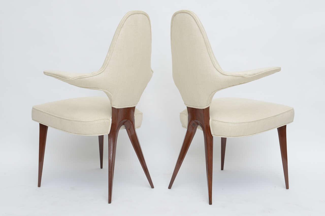 Set of Four Italian Modern Mahogany Armchairs, Silvio Cavatorta For Sale 2