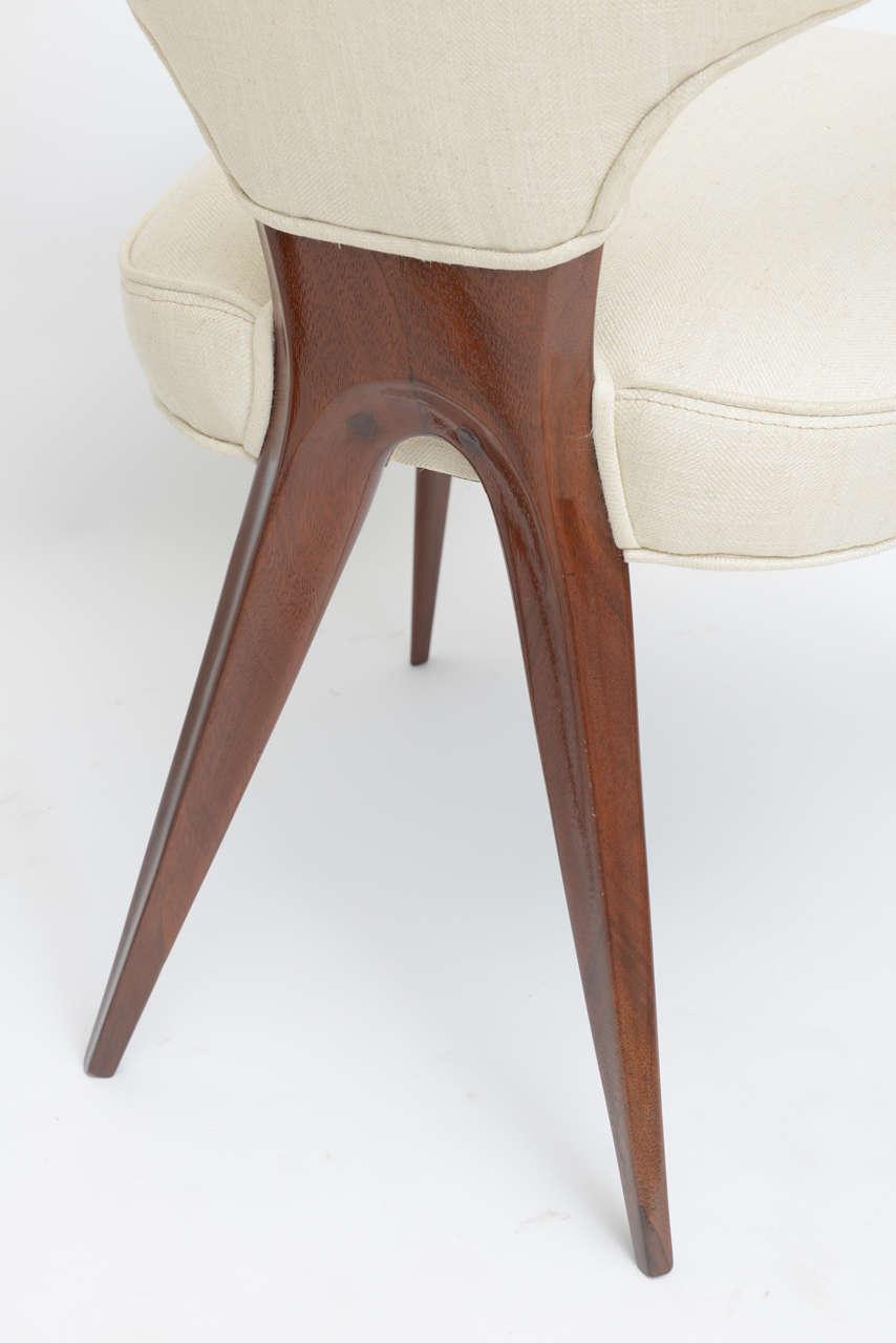 Set of Four Italian Modern Mahogany Armchairs, Silvio Cavatorta For Sale 3