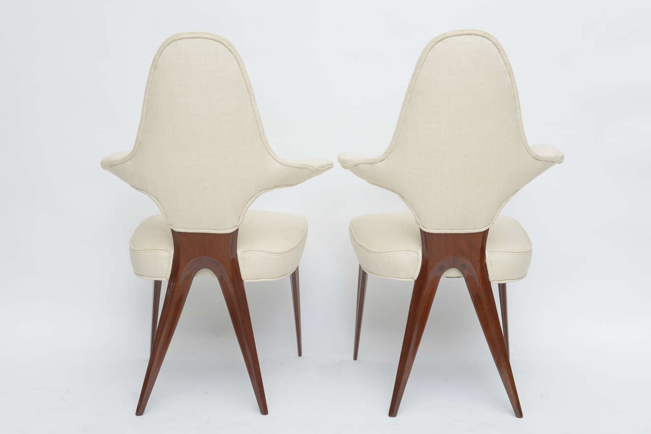 Set of Four Italian Modern Mahogany Armchairs, Silvio Cavatorta For Sale 4