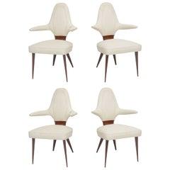 Set of Four Italian Modern Mahogany Armchairs, Silvio Cavatorta