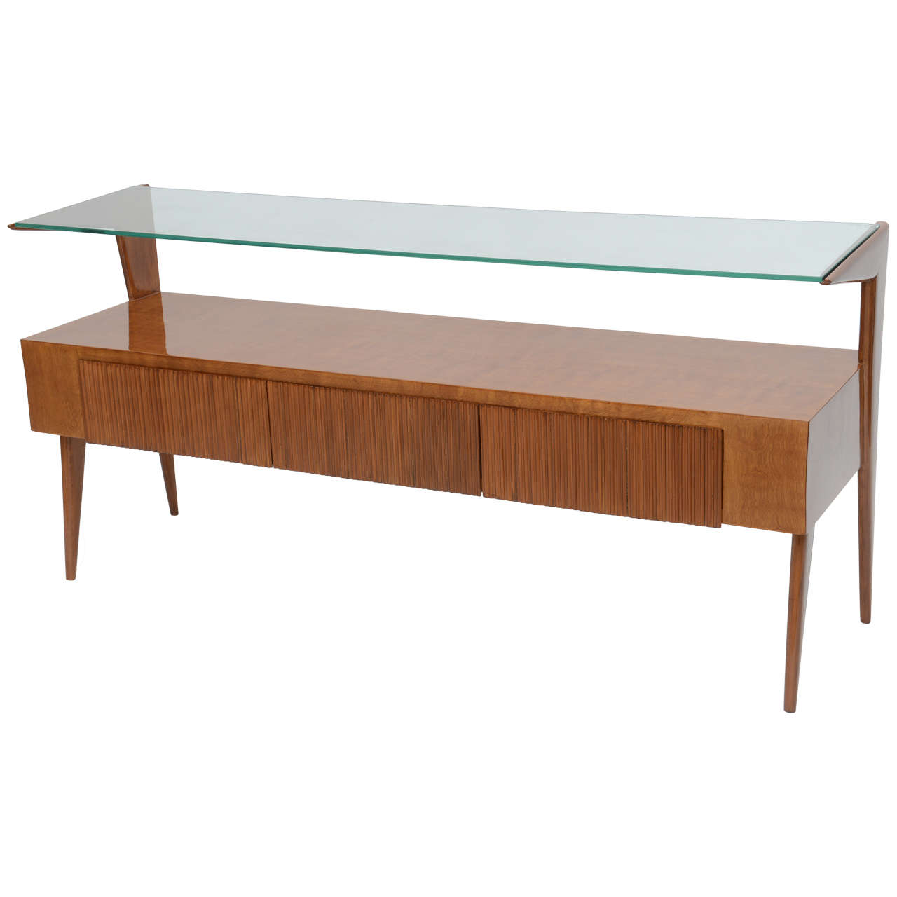 Italian modern walnut and glass top two tiered low table for Low sofa table