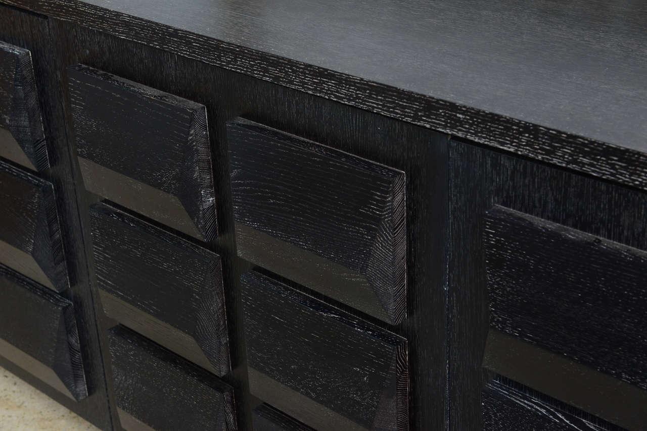 Mid-Century Modern Monumental Ebonized Four-Door Credenza Buffet by Jamie Herzlinger For Sale